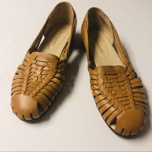 Softspots Leather Woven Tan Sandals